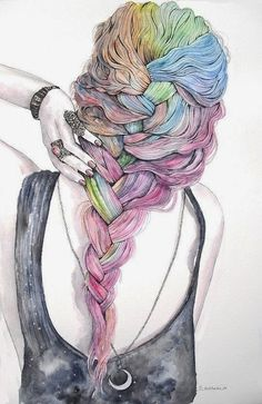 21 ideas drawing hair watercolor beautiful for 2019 Art And Illustration, Illustrations, Watercolor Illustration, Watercolor Paintings, Watercolour, Acrylic Paintings, Bel Art, Hipster Vintage, How To Draw Hair