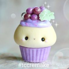#kawaii #charms #polymer #clay #grape #cupcake #charm