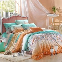 Aqua Blue and Orange Tribal Inspired Floral Print 100% Silk Soft Tencel Full, Queen Size Comforter Cover Sets