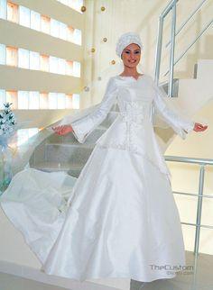 Cheap White High Neck Long Sleeve Floor Length Custom Make Long Formal Bridal  Robe De Mariee Long Sleeve Muslim White Dress Free Measurement 86061246755d