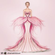 Flamingo gown эскизы fashion art, fashion sketchbook и fashion design sketc Fashion Design Sketchbook, Fashion Design Drawings, Fashion Sketches, Dress Illustration, Fashion Illustration Dresses, Moda Fashion, Fashion Art, Fashion Models, Flamingo Dress