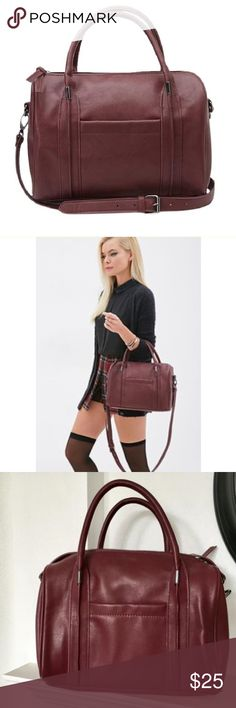 Host Pick ⚡️🔥Forever 21 Faux Leather Purse LIKE NEW!  Forever 21 Limited Edition Rare Maroon Purse with added straps.    Large to medium sized bag- see photos Forever 21 Bags Shoulder Bags