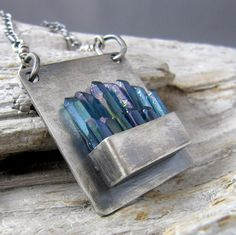 Aqua Aura Quartz Points Fine and Sterling Silver Oxidized Pendant