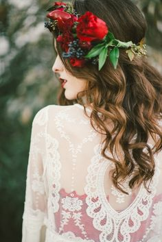 Winter red floral crown
