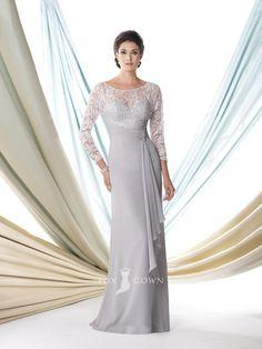 chiffon light grey three quarter sleeve floor length mother of the bride dress