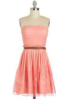 Good And Ballad Dress - Coral, Solid, Lace, Belted, Daytime Party, A-line, Strapless, Sweetheart, Chiffon, Summer, Braided, Pleats, Pastel, Spring