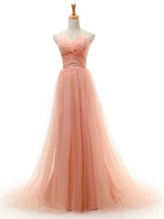 Charming Coral A-line Sweetheart Neckline Court Train Prom Dress