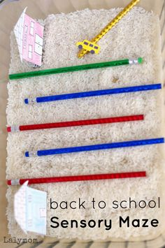 Back to School Sensory Maze from Fine Motor Fridays Quiet Toddler Activities, Toddler Fun, Sensory Activities, Craft Activities For Kids, Kindergarten Activities, Preschool Activities, Sensory Play, Sensory Table, Kids Crafts
