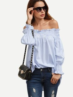 d3807e9152fd8 Sheinside Blue and White Striped Off The Shoulder Smock Shirt Women Tops  Summer Office Wear Loose Long Sleeve Blouse
