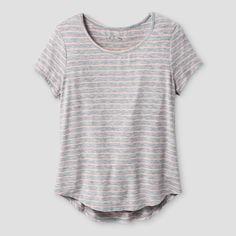 4133001a6c7 Girls  Striped Short Sleeve Scoop Neck T-Shirt - Art Class Heather Gray XS