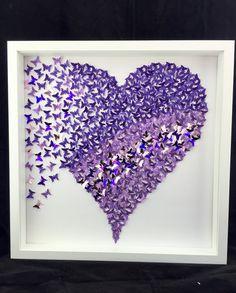 paper butterfly butterfly wall art by MoncraftWallArt on Etsy Purple Butterfly, Butterfly Art, Heart Frame, Heart Wall, Diy Wall Art, Diy Art, Cadre Diy, Art Papillon, Butterfly Wall Decor
