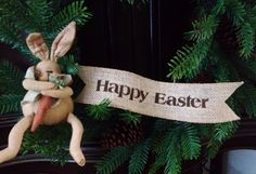 Primitive Happy Easter Wired Burlap Ribbon Banner Ornament Garland NEW BU