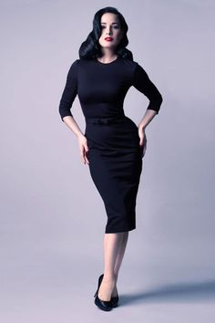 Dita Von Teese is such a great style icon.  Notice how the ends of her hair are tucked, her makeup is simple, and her wiggle dress gives her great shape