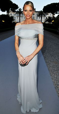 May 19, 2011 Charlene Wittstock made an appearance at AMFAR'S Cinema Against AIDS Gala in a pale blue off-the-shoulder gown.Cannes Film Festival