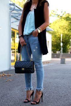 vest:Shein(similar here) // lace top:Mango// jeans: Zara (similar here) // bag:Chanel// sandals:Steve Maddenvia Sarenza // sunglasses:Céline// watch:Michael Kors// bracelets:Tory Burch,Amber Sceats,Marc Jacobs// earrings:Tory Burch// necklaces:Kate Spade, Stilnest vest: Shein (similar here) // lace top: Mango // jeans: Zara (similar here) // bag: Chanel // sandals: Steve Madden via Sarenza // sunglasses: Céline // watch: Michael …