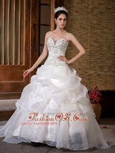 Customize A-line Wedding Dress Sweetheart Sweep Train Taffeta and Organza Beading Pick-ups  Item Code: WD6281FOS     ml