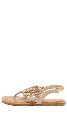 Natural and Gold Thong Sandals
