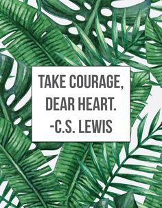 Take courage, dear heart. -C.S. Lewis