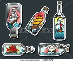 Vector Ship in a Bottle Ancient Sailing Ships Traditional Tattooing Design Set