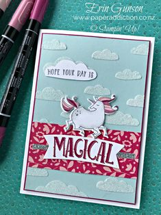 A fun card today with the Stampin Up Magical Day set and Shimmery Embossing Paste. Erin Gunson www.paperaddiction.co.nz