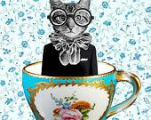 Animal painting portrait painting  Giclee Print Acrylic Painting Illustration Birdt Print wall art wall decor Wall Hanging:Cat in A Cup