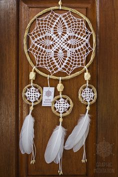Boho dream catcher wall hanging, Large white dreamcatcher, Unique wedding decor Triple doily dream catcher, Crochet feather dreamcatcher