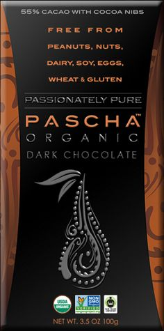 PASCHA Organic Dark Chocolate | Passionately Pure | Allergen Free ? 55% Cacao with Cacao Nibs