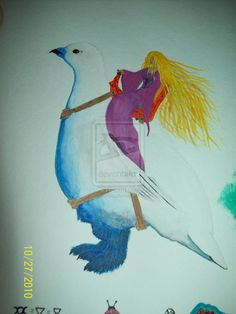 Ride by AllyCatBlu Traditional Art / Paintings / Fantasy©2010-2014 AllyCatBlu girl ridding a snow pigeon.