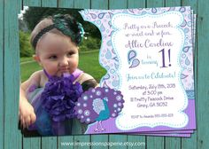 Paisley Peacock - A Custom Photo Birthday Invitation by Best Impressions Paperie   Pretty as a Peacock   Peacock Birthday Party   First Birthday   Purple and Turquoise