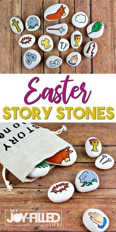 Easter story stones help to keep Christ at the center of Easter – use them as story props or a scavenger hunt, or even as a gift. Easter Activities For Kids, Easter Crafts For Kids, Craft Activities, Easter Ideas, Kid Crafts, Easter Story, Story Stones, Catholic Kids, Easter Celebration