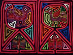 Kuna Indian Bird Butterfly Mola Art-Panama 15122601L