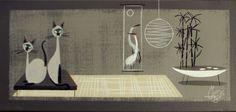 EL GATO GOMEZ PAINTING RETRO 1950S EAMES MID CENTURY MODERN ASIAN SIAMESE CATS #Modernism