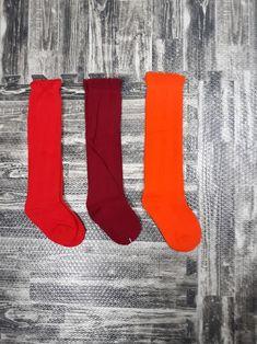 Little Girls Fall knee socks bundle. Red, burgundy and orange knee high socks for toddler girls. #kidsoutfits #babygirlboots #toddlerboots Orange Knee High Socks, Girls Knee High Socks, Orange Socks, Girls Socks, Knee Socks, Baby Girl Boots, Toddler Girl Shoes, Toddler Girls, Vintage Kids Fashion
