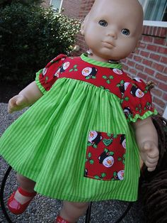 Bitty Baby doll clothes  Christmas Dress and Panties for Bitty Baby by twocutedollclothes, $15.00