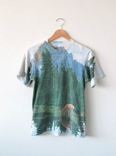 Woodland T Shirt Print All Over Forest TShirt Deer Moutain Lake Pine Trees Northern Landscape XS Small Medium ($59.00) - Svpply