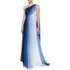 ML Monique Lhuillier One-Shoulder Ombre Draped Gown (1,115 CNY) ❤ liked on Polyvore featuring dresses, gowns, gown, blue, one shoulder evening dress, ombre gown, one shoulder chiffon dress, one shoulder gown and asymmetrical dress