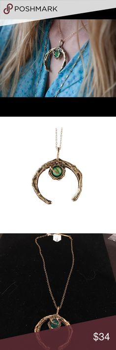 """Green agate stone crystal crescent moon necklace Solid bronze pendant available with green agate, blue agate and clear quartz  Vintage style chain 16"""", pendant size approx. 2""""x 2""""  Made in Greece Anthropologie Jewelry Necklaces"""