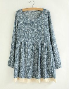 $12.88 Tiny Floral Print Scoop Neck Long Sleeve Casual Dress For Women