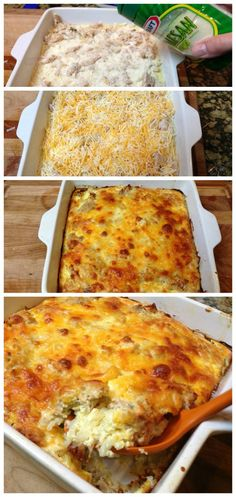 Super Easy Hash Brown Casserole Recipe! I don't know why this is called Hash Brown Casserole. It should be Breakfast Casserole. Eggs, sausage, hashbrowns, onions, bread, cheese... SO YUMMY!