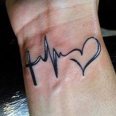 Mini Tattoos, Love Tattoos, Body Art Tattoos, New Tattoos, Tattoos For Guys, Sister Tattoos, Tatoos, Lifeline Tattoos, Ekg Tattoo