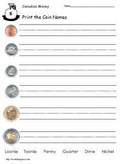 Great Canadian money worksheets free to print of Money Math Worksheets Money Worksheets, Kindergarten Math Worksheets, In Kindergarten, Teaching Math, Learning Money, Money Activities, 3rd Grade Math, Grade 2, Math Measurement
