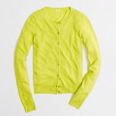 J.Crew Factory wool-blend classic crewneck cardigan, size S or M in citrus lime