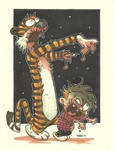 Zombie Calvin and Hobbes Zombie Life, Zombie Art, Thor Y Loki, Calvin E Hobbes, Zombie Style, Zombie Monster, Zombie Attack, Stuff And Thangs, Fun Comics