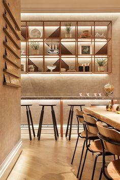 Restaurante AC Lounge Bar Design, Shelf Design, Design Studio, Rustic Restaurant, Restaurant Lighting, Bar Interior, Restaurant Interior Design, Kitchen Lighting Design, Industrial Cafe
