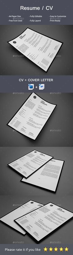 #Resume - Resumes #Stationery Download here: https://graphicriver.net/item/resume/19330171?ref=alena994