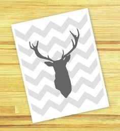 Deer Antlers Chevron Nursery Wall Art Print  Modern by AldariArt