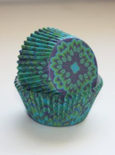 24 Tribal print peacock feathers Cupcake Liners Navy Blue Green Cupcake Papers Baking Cups Girl Boy Birthday Party Supplies Baby Shower on Etsy, $1.86
