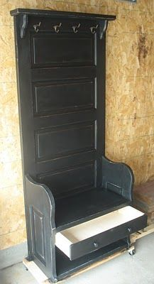 Use door from wedding ~Hall Tree with bench