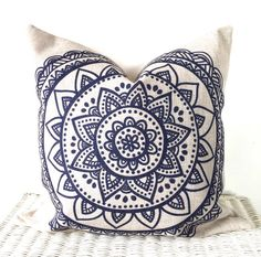 August Place presents our bohemian cushion cover in navy blue and natural - this would go perfectly in any room.  Size: 18x18inch / 45x45cm Fabric: