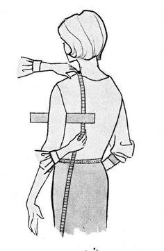 Measuring for jackets - measuring scye.Although the picture is not in bright flashy colors this is an EXCELLENT LEARNING ARTICLE, information well done. Read Slow and Learn many details! Sewing Lessons, Sewing Class, Sewing Hacks, Sewing Tutorials, Sewing Projects, Dress Tutorials, Sewing Tips, Techniques Couture, Sewing Techniques